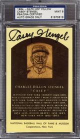 Casey Stengel Yellow HOF Plaque Postcard Signed Auto PSA DNA Yankees 1964 PSA 9