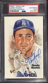Sandy Koufax Perez Steele HOF Postcard Signed PSA DNA Slabbed Dodgers ID: 310580