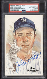 Joe DiMaggio Perez Steele HOF Postcard Signed PSA DNA Slabbed Yankees ID: 310593