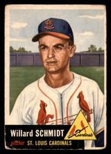 1953 Topps #168 Willard Schmidt Poor RC Rookie  ID: 312083