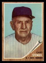 1962 Topps #29 Casey Stengel MG Very Good  ID: 312306