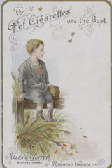 1890's Allen & Ginter Pet Cigarettes The Best Facing Boy Sitting On Fence Right  #*