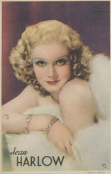 1930s Film Star Portraits Jean Harlow Ex Blank Back  #*