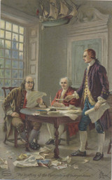 1909 Benjamin Franklin (The Drafting Of The Declaration Of Independence Back Advertisement 5 3/8 by 3 3/8 inches   #*