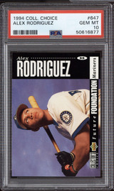 1994 Collector's Choice #647 Alex Rodriguez PSA 10 Gem Mint RC Rookie Arod