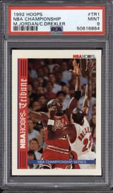 1992-93 Hoops Inserts #TR1 Michael Jordan/Clyde Drexler PSA 9 Mint  ID: 312361