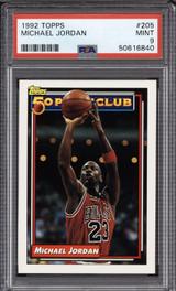 1992-93 Topps #205 Michael Jordan 50P PSA 9 Mint  ID: 312364