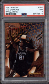 1997-98 Topps Finest #101 Tim Duncan Bronze PSA 7 Near Mint RC Rookie with Coating
