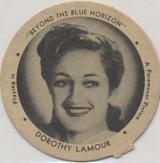 "1942 Dixie Lid Dorothy Lamour ""Beyond The Blue Horizon"" 2 1/4 inch Diameter Dixie Ice Cream  #*"