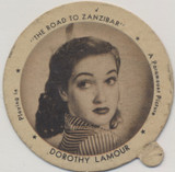 "1942 Dixie Lid Dorothy Lamour ""The Road To Zanzibar"" 2 1/4 inch Diameter Dixie Ice Cream  #*"