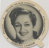 "1942 Dixie Lid Dorothy Lamour ""Beyond The Blue Horizon"" 2 3/4 inch Diameter Grisham's Ice Cream  #*"