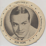 """1943 Dixie Lid Bob Hope """"Let's Face It"""" 2 3/4 inch Diameter Meadow Gold Ice Cream  #*"""