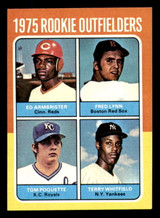1975 Topps Mini #622 Rookie Outfielders Fred Lynn/Ed Armbrister/Terry Whitfield/Tom Poquette Near Mint RC Rookie  ID: 313288