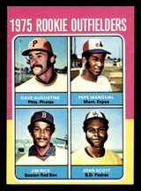 1975 Topps Mini #616 Rookie Outfielders Jim Rice/John Scott/Dave Augustine/Pepe Mangual Very Good RC Rookie  ID: 313290
