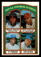 1972 Topps #93 Fergie Jenkins/Steve Carlton/Al Downing Tom Seaver NL Pitching Leaders Excellent