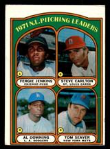 1972 Topps #93 Fergie Jenkins/Steve Carlton/Al Downing Tom Seaver NL Pitching Leaders Very Good  ID: 313734