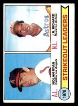 1979 Topps #6 Nolan Ryan/J.R. Richard Strikeout Leaders Excellent