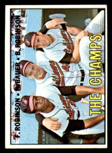 1967 Topps #1 Frank Robinson/Hank Bauer/Brooks Robinson The Champs DP Excellent+  ID: 315539