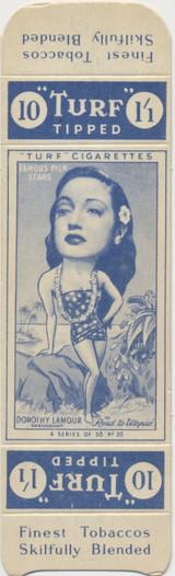1949 Turf Tipped Film Stars Carrseras London #20 Dorothy Lamour ex  #*