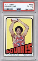 1972-73 Topps #195 Julius Erving PSA 6 EX-Mint RC Rookie  ID: 316338