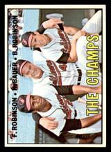 1967 Topps #1 Frank Robinson/Hank Bauer/Brooks Robinson The Champs DP Excellent+  ID: 316652