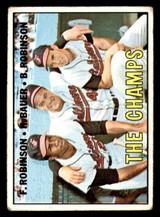 1967 Topps #1 Frank Robinson/Hank Bauer/Brooks Robinson The Champs DP G-VG  ID: 316666