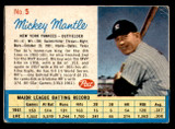 1962 Post Cereal #5 Mickey Mantle Very Good  ID: 316829