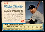 1962 Post Cereal #5 Mickey Mantle Very Good  ID: 316830