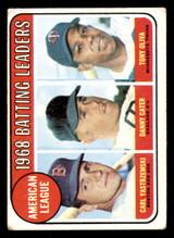 1969 Topps #1 Carl Yastrzemski/Danny Cater/Tony Oliva A.L. Batting Leaders Very Good  ID: 317079