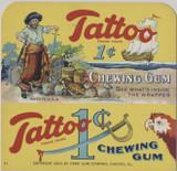 1932 ORIG. ORBIT PIRATE GUM TATTOO DISPLAY BOX INSERT CARD 4 3/8 BY 4 1/8 INCHES  #*