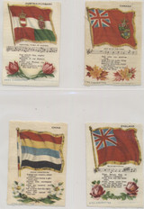 1910 S-40 NATIONAL FLAGS, SONG, & FLOWERS (SMALL 2 3/4 BY 4 INCHES) LOT OF 14   #*