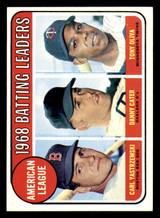1969 Topps #1 Carl Yastrzemski/Danny Cater/Tony Oliva A.L. Batting Leaders Ex-Mint Back Discolored