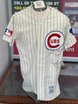 Ernie Banks Jersey PSA/DNA Signed Auto Autograph Mitchell & Ness Cubs Lets Play Two Inscription