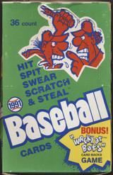 1991 Confex Baseball Hit, Spit, Swear, Scratch, & Steal Wax Box 36 Unopened Wax Packs  #*