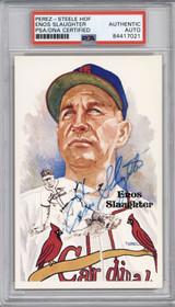 Enos Slaughter Perez Steele HOF Postcard PSA/DNA Auto Signed Cardinals Encapsulated