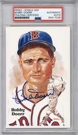 Bobby Doerr Perez Steele HOF Postcard PSA/DNA Auto Signed Red Sox Encapsulated