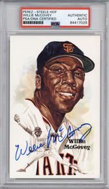Willie McCovey Perez Steele HOF Postcard PSA/DNA Auto Signed Giants Encapsulated