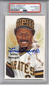 Willie Stargell Perez Steele HOF Postcard PSA/DNA Auto Signed Pirates Encapsulated