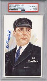 Al Barlick Perez Steele HOF Postcard PSA/DNA Auto Signed Umpire Encapsulated