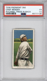 1909-11 T206 Piedmont 350 Chief Bender Pitching Trees in Back PSA 1.5 Fair