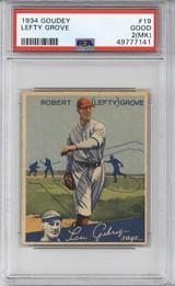 1934 Goudey #19 Lefty Grove Boston red Sox PSA 2mk Good