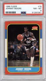 1986-87 Fleer #76 Johnny Moore PSA 8 NM-Mint  ID: 321585