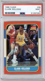 1986-87 Fleer #58 Clark Kellogg PSA 9 Mint RC Rookie  ID: 321587