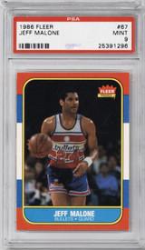 1986-87 Fleer #67 Jeff Malone PSA 9 Mint RC Rookie  ID: 321593