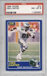 1989 Score #72 Cris Carter PSA 8 NM-Mint RC Rookie  ID: 321612