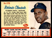 1962 Post Cereal #173 Roberto Clemente VAR Near Mint Red Lines