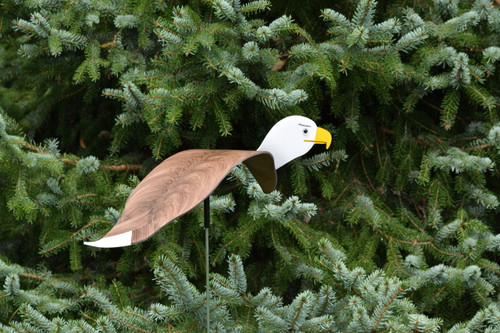 """Bald Eagle dancing garden art that moves with the wind atop a 35"""" stake, made in Michigan, USA."""