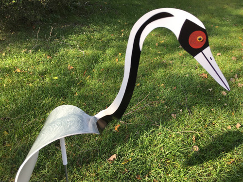 "White Naped Crane dancing garden art that moves with the wind atop a 35"" stake, made in Michigan, USA."