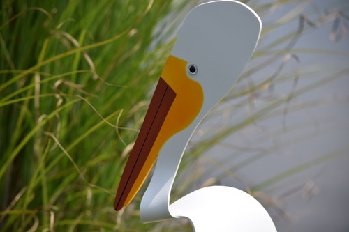 """American White Pelican dancing garden art that moves with the wind atop a 35"""" stake, made in Michigan, USA."""
