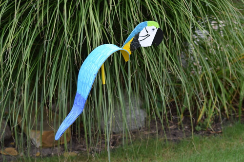 "Royal Blue & Gold Macaw dancing garden art that moves with the wind atop a 35"" stake, made in Michigan, USA."